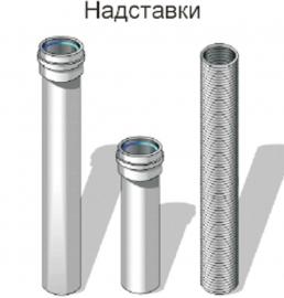 Надставка коаксиальная прямая - труба 1000 мм, ф 80х125 мм