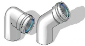 Колено, угол 45°, AL, ф 80/125 мм