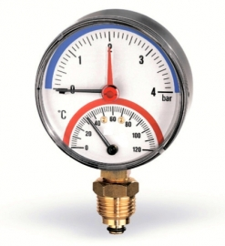Watts Термоманометр радиальный F+R828 (TMRP) 1/2 x 4 бар / диаметр 80мм