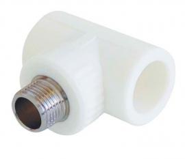 Kalde Тройник  20x3/4 с наружной резьбой для полипропиленовых труб  (цвет белый)
