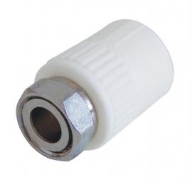 Kalde Муфта комбинированная с накидной гайкой 32х1 1/4 для полипропиленовых труб  (цвет белый)