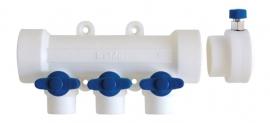 Kalde Коллектор на 5 выходов с воздухоотводчиком и запорными кранами для полипропиленовых труб