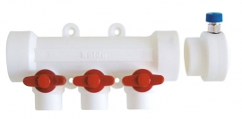 Kalde Коллектор полипропиленовый на 3 выхода с воздухоотводчиком и красными кранами
