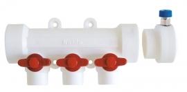 Kalde Коллектор пластиковый на 4 выхода с воздухоотводчиком и красными кранами