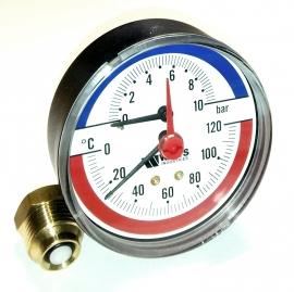 Watts Термоманометр аксиальный F+R818(TMAP) 1/2 x 10 бар / диаметр 80мм