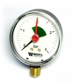Watts F+R201(MHR) 63/4x1/4 Манометр радиальный с указателем предела / диаметр 63мм. 0-4 бар