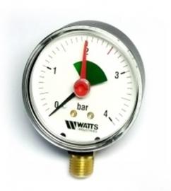 Watts F+R201(MHR) 63/4x3/8 Манометр радиальный с указателем предела / диаметр 63мм, 0-4 бар