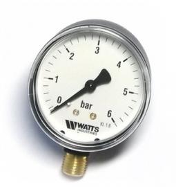 Watts F+R200(MDR) 63/6x1/4 Манометр радиальный / диаметр 63мм, 0-6 бар