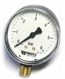 Watts F+R200(MDR) 100/6x1/2 Манометр радиальный / диаметр 100мм, 0-6 бар