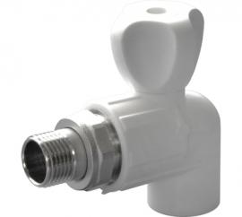 Политэк Кран шаровой полипропиленовый PP-R для радиатора угловой 20х1/2