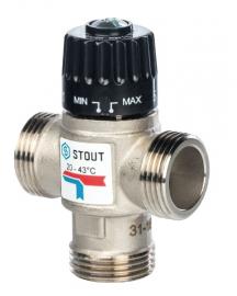 STOUT Клапан термостатический смесительный 20-43С, нар. 1