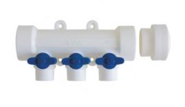 Kalde Коллектор на 6 выходов с запорными кранами (цвет ручек синий) для полипропиленовых труб под сварку
