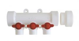 Kalde Коллектор пластиковый 4 выхода с красными запорными кранами труб под сварку