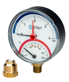 STOUT Термоманометр радиальный с автоматическим запорным клапаном корпус DN80 мм, 0-4 бар, 0-120 град., 1/2