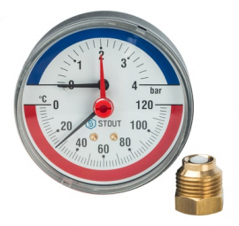 STOUT Термоманометр аксиальный с автоматическим запорным клапаном корпус DN80 мм, 0-4 бар, 0-120 град., 1/2