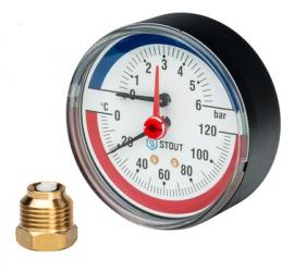 STOUT Термоманометр аксиальный с автоматическим запорным клапаном корпус DN80 мм, 0-6 бар, 0-120 град., 1/2