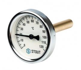 STOUT Термометр биметаллический с погружной гильзой корпус DN63 мм, гильза 75 мм , 0-120 град., 1/2