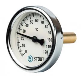 STOUT Термометр биметаллический с погружной гильзой корпус DN80 мм, гильза 50 мм , 0-120 град., 1/2