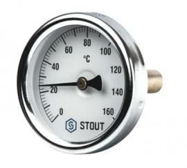 STOUT Термометр биметаллический с погружной гильзой корпус DN63 мм, гильза 50 мм , 0- 160 град., 1/ 2
