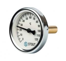STOUT Термометр биметаллический с погружной гильзой корпус DN63 мм, гильза 50 мм, резьба с самоуплотнением, 0-120 град., 1/2