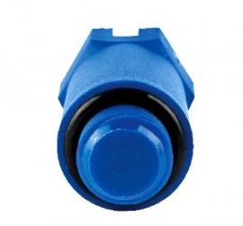 Stout Пробка (длинная) с наружной резьбой и уплотнительным кольцом 1/2, синяя