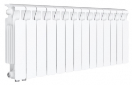 RIFAR Биметаллический монолитный радиатор MONOLIT VENTIL 350 14 секций (MVL) нижнее подключение (слева) 50мм
