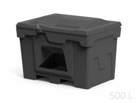 Polimer Group Ящик пластиковый 500л с крышкой и дозатором, черный